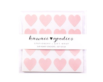 64 Pastel Pink Heart Stickers - Mini 3/4 inch light pink heart stickers - FREE SHIPPING