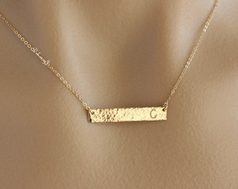 Custom hammered gold plate necklace, Gold bar necklace, Hammered / Edge Hammered / Smooth, Simple everyday necklace, Gold necklace