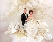 Vintage Wedding Cake Topper Bride and Groom 1972  with Pearls, Lace, and More