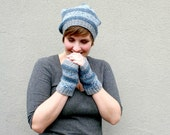 Striped Fingerless Gloves, Blue Hand Knitted Gloves, Winter Fashion, Women's Gloves, Teen Girls, Soft Short Gloves with Stripes - Blue, Gray