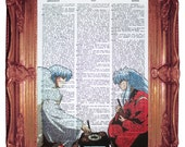 vintage dictionary art ink print 7.75x10.75 inches - inu yasha and sesshomaru eating print dictionary page prints on dictionary paper
