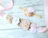 Parisian Skyline- pink and gold headband and sash SET with ,ruffle  rosettes, chiffon flowers  netting and feather