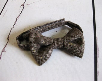 Boys brown bow tie toddler bowtie baby adjustable bow tie velcro bow tie fabric bowtie - Downtown Brown bow tie