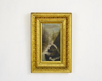 20 PERCENT OFF Code: 20FOR17 > 1800's Oil Painting River in The Woods In Gold Gilt Shadow Box Frame