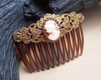Vintage hair combs 2 cameo theme hair pin hair pick hair slide hair accessory hair jewelry hair ornament
