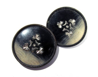 Celluloid Buttons Two (2) VINTAGE Celluloid Buttons Black Cream Shamrock Flower Design Vintage Sewing Jewelry Wedding Supplies (F12)