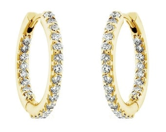 """14K Yellow Gold 0.88ct Inside & Outside Diamonds Hoop Earrings 0.75"""" inch  HandMade"""