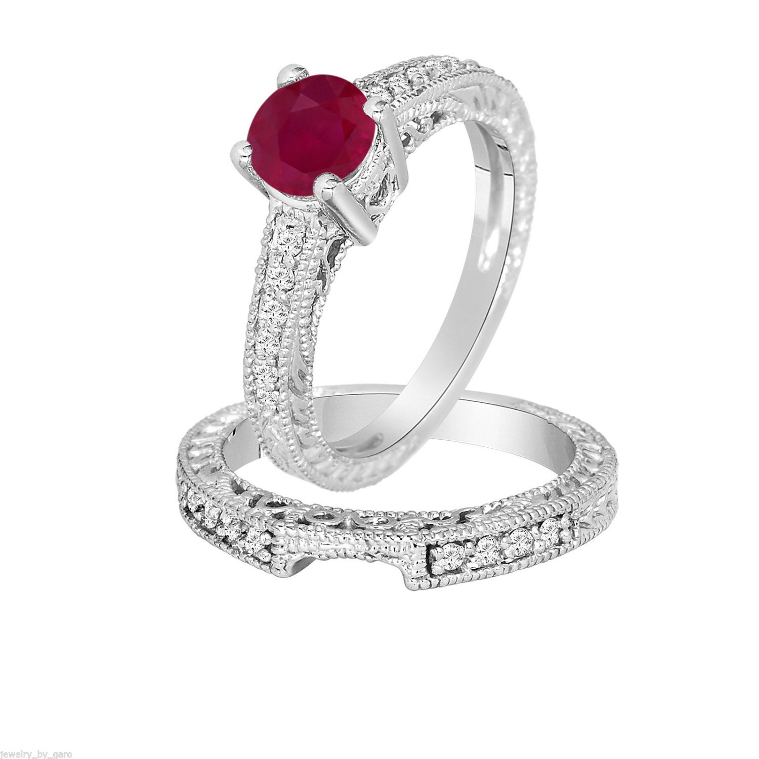 0.87 Carat Ruby & Diamond Engagement Ring Wedding by ...