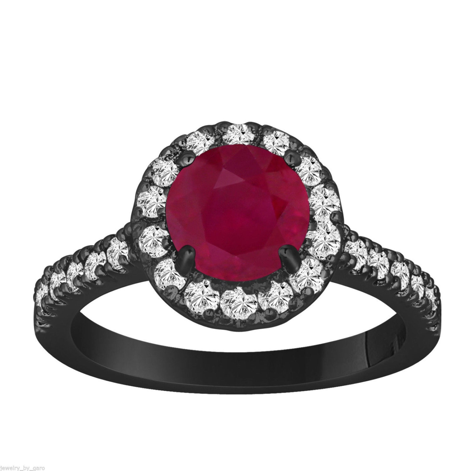 Ruby & Diamond Engagement Ring 1 65 Carat Vintage Style 14K