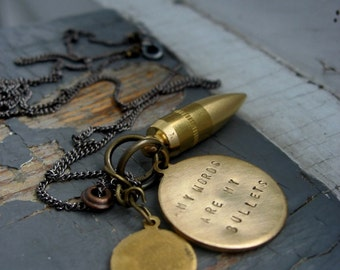 Words Are My Bullets - mens metalwork brass bullet, stamped affirmation tag & charm, gunmetal chain, necklace