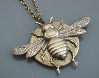 Locket Necklace - Bee Necklace - Vintage Brass Jewelry - Bee Locket - Large Locket - handmade jewelry