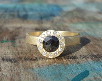 Black Diamond Ring , Rose Cut Black Diamond Halo Ring , Black Diamond Engagement Ring , Unique Engagement Ring , Halo Engagement Ring