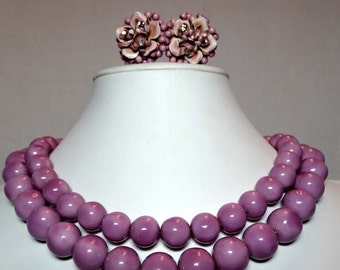 Lilac Purple Acrylic Wood Beaded Jewelry Set. Necklace with Clip On Earrings Apparel & Accessories Jewelry Vintage Jewelry Necklace Earrings