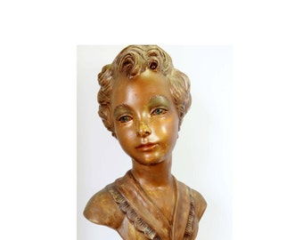 Bust of a Victorian Woman Hand Painted with Gold Leaf She can be Transformed into a LampHome and Garden Lighting Lamps Table Lamps