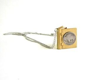 buffalo nickel locket necklace . brass book locket necklace .  buffalo nickel coin necklace . bison locket jewelry