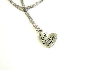 la bonne vie necklace . the good life heart necklace . french charm necklace
