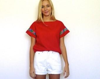70s Bright Red Ethnic Lattice Sleeve T-Shirt xs s m