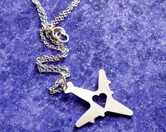 I Heart Travel Airplane - Necklace Pendant or Keychain - Design 3