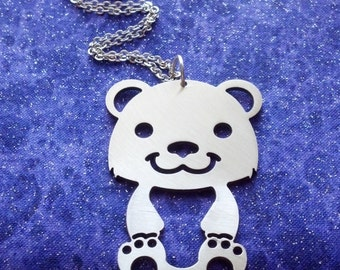 Teddy Bear Design 2 - Necklace Pendant or Keychain