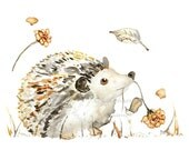 Hedgehog Nursery Print, Forest Animal Print, Baby Girl Gift, Hedgehog Painting, Nursery Print, Watercolor Baby Decor, Animal Painting