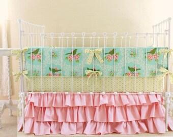 Girl Baby Bedding,  ruffle Crib Bedding , shabby chic roses nursery bedding, Up Parasol Turquoise Mocking bird bedding by lottiedababy