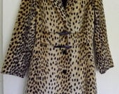 SALE Vintage leopard print faux fur coat 1950s size small