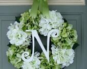 Summer Wreath - Monogram Wreath - Summer Hydrangea Wreath - Summer Door Wreath