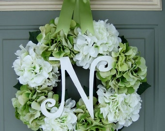 Spring Wreath - Monogram Wreath - Spring Hydrangea Wreath - Spring Door Wreath