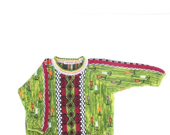 Vintage Sweater Kids Children Flowers Green European Designer Colorful Pattern SZ 2  92
