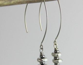 Metallic Stacks - Gunmetal Silver Marquis Drop Earrings - Neutral Versatile Everyday Earrings - Modern Geometric Trendy Edgy