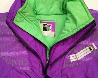 1980's Neon Ski Jacket - Purple and Lime Green - Ladies Small puffy jacket