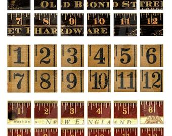 OLD YARDSTICK NUMBERS and Tape Measure Numbers - Instant Download Digital Printable-  1 inch Squares - Vintage Number Print