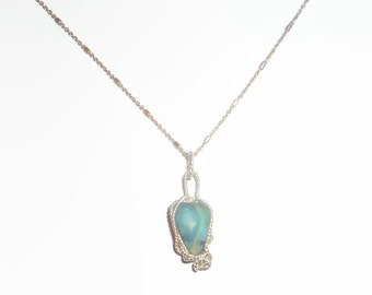 Wire Wrapped Genuine Natural Blue Opal Necklace Sterling Silver .925