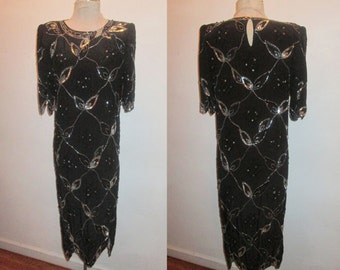 Vintage Black Silver Glam Leaf Diamonds Sequins Beads Embellish Pointed Scallop Edge Puff Elbow Sleeve Flapper Style Pure Silk Dress Size 8