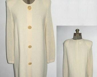 VTG Designer Scaasi Cream Decorative Big Gold Buttons Jersey Crochet Mesh Stitch Long Sleeve Scoop Neck Short Sweater Knit Dress Petite 14
