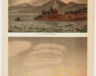 1893 Antique POLAR LIGHTS print, aurora borealis, old victorian astronomy lithograph