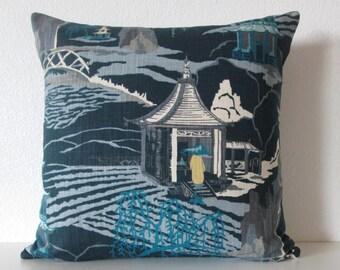 Neo Toile Indigo asian toile blue turquoise gray oriental decorative pillow cover