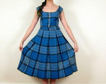 Vintage 1960s Plaid Dress Set in Blue Wool / 60s Wool Midi Skirt and Top Ensemble / Medium