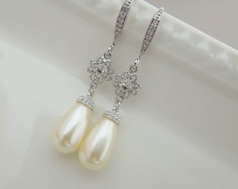 Ivory swarovski Pearl Earrings Bridal rhinestone Earrings Bridal stud Earrings swarovski pearl Wedding Pearl Earrings vintage style MOLLY