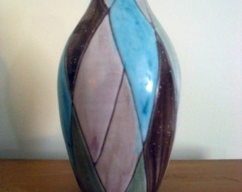 Mid Century Modern Harlequin Style Pottery Vase Signed JY 45/ 5 signed on bottom