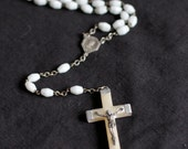 Vintage French Rosary with white glass beads | SALE 40% off with code SUMMERBREAK |