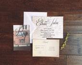 Vintage Map Travel Destination Wedding Invitation, Volkswagon Vintage Map Wedding Invite, State Map Wedding Invitation Suite