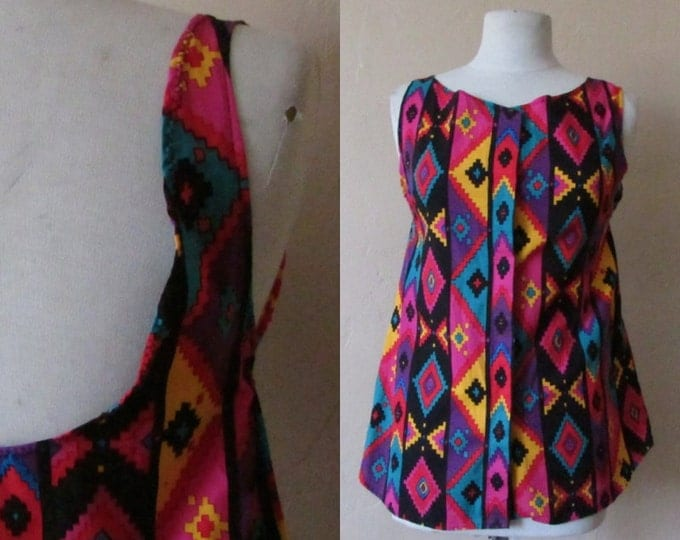 scoop back up cycled repurposed ikat southwestern geometric colorful bright cotton button down vintage 80s tank top - small S medium M