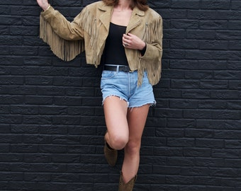 Rock the Rodeo, Vintage, Tan Suede Leather Fringe Tassle Cowgirl Jacket