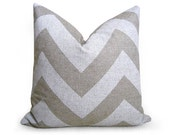 Chevron Linen Pillow Cover - Natural - White - 20 inch - BOTH SIDES - Zig Zag - Decorative Pillow - Linen Pillow - Throw Pillow