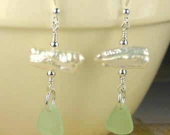 Custom GENUINE Sea Foam Green Sea Glass Earrings With Keishi Pearl Jewelry Sterling Silver