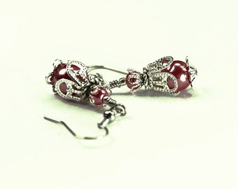 Marrakesh, Vintage Floral Inspired Earrings, Rose Pearls and Silver