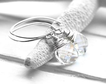 Clear Crystal Earrings, Sparkling Clear Swarovski Crystal Wire Wrapped Flat Teardrops, Sterling Silver Dangly Earrings