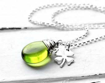Olive Green Four Leaf Clover Charm Necklace, Wire Wrapped Smooth Glass Teardrop Pendant, Sterling Silver Shamrock Jewelry, St. Patricks Day