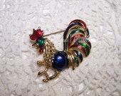 Enamel Rooster Brooch Colorful Vintage Jewelry VTG Gold Tone Farm Animal Wildlife